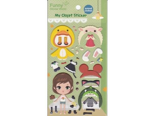 Stickers fille avec déguisement