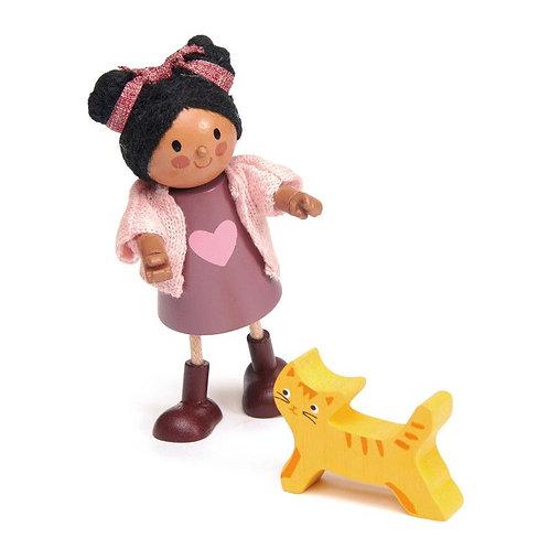 Poupée flexible en bois, fillette avec son chat