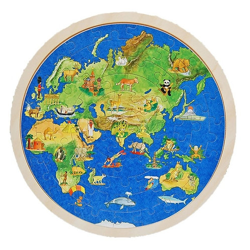 Puzzle en bois globe terrestre
