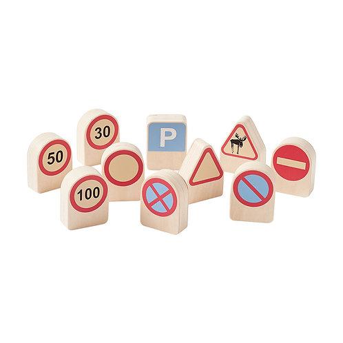 Panneaux de signalisation enfant Aiden bois 10 pièces