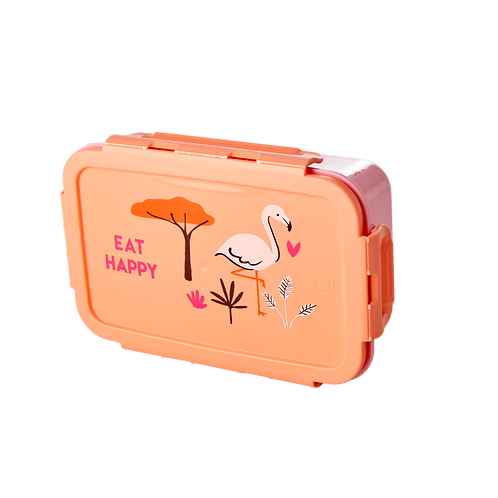 LARGE FLAMANT ROSE LUNCH BOX - CORAIL - JUNGLE ANIMALS PRINT