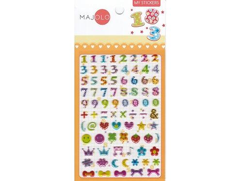 Stickers chiffres multicolors