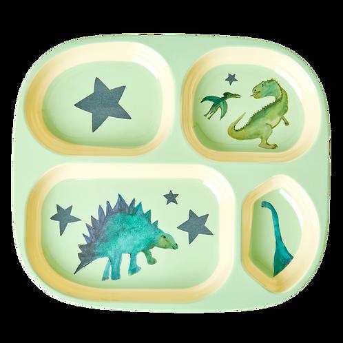 Assiette enfants 4 compartiments en mélamine dinosaures