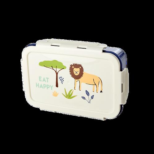 LARGE LION LUNCH BOX - BLEU FONCÉ - JUNGLE ANIMALS PRINT