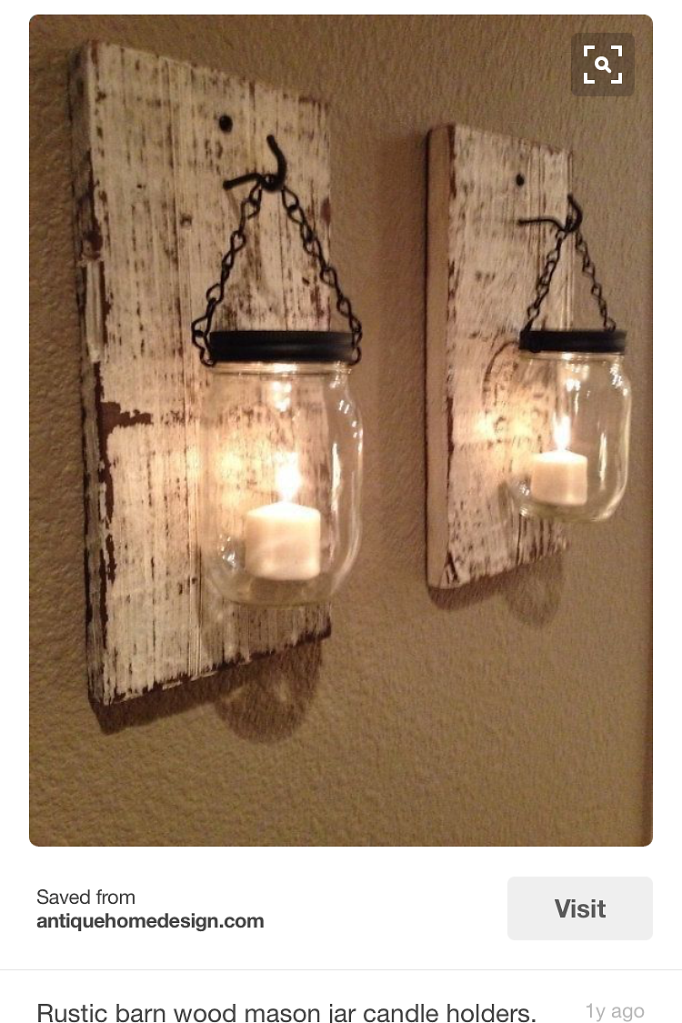 Regionallyrustic mason jar sconce candles wall mount mason jar candles select mason jars in clear or bluegreen with chain or wire handle select color or stain of backboard amipublicfo Image collections