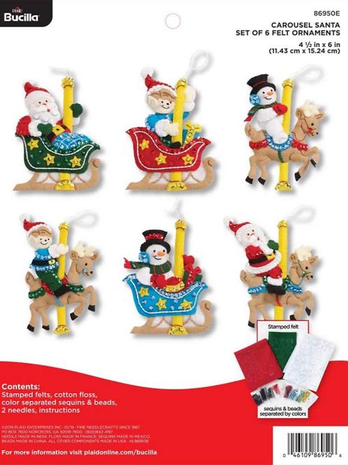Bucilla Felt Kit - Carousel Santa Ornaments