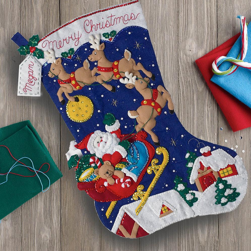 Bucilla Christmas Stocking Kits.Bucilla Felt Stocking Kit Christmas Night Jumbo Stocking