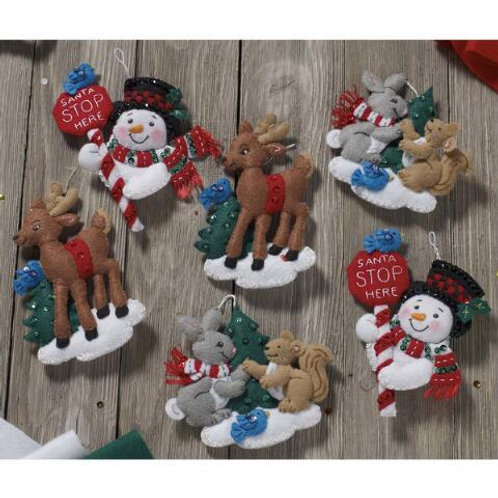Bucilla Felt Kit - Santa Stop Here Ornaments