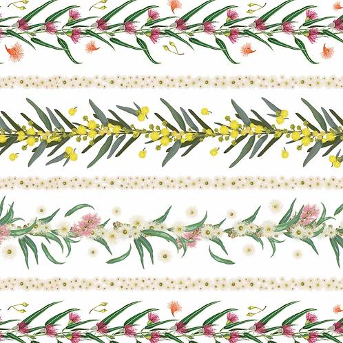 FLOWERS OF AUSTRALIA STRIPE WHITE