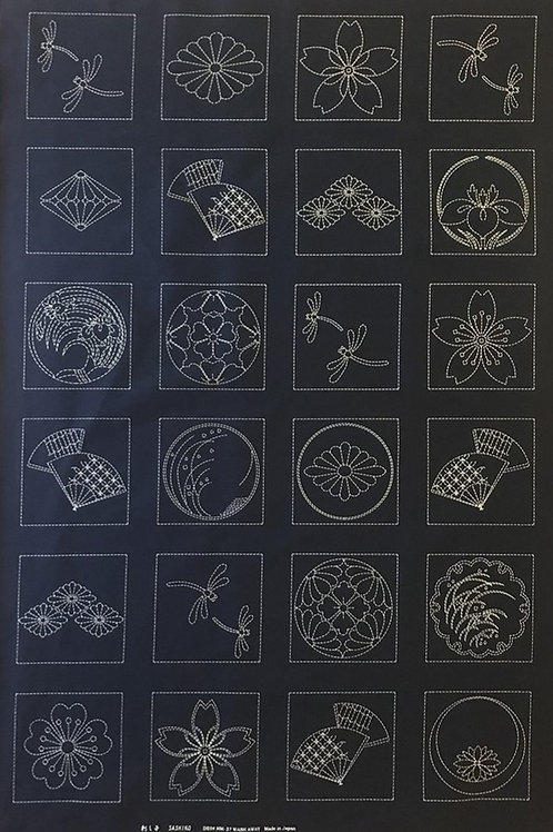 Sashiko Panel ~ Japanese Crests, Fans & Dragonflies