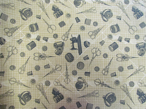 Antique Sewing Fabric -Toss