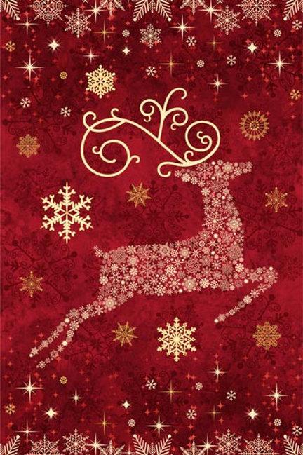 Reindeer Prancer Panel - Red