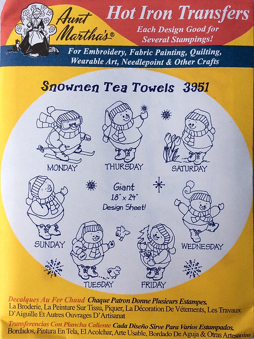 Snowmen Tea Towels 3951 Hot Iron Transfers