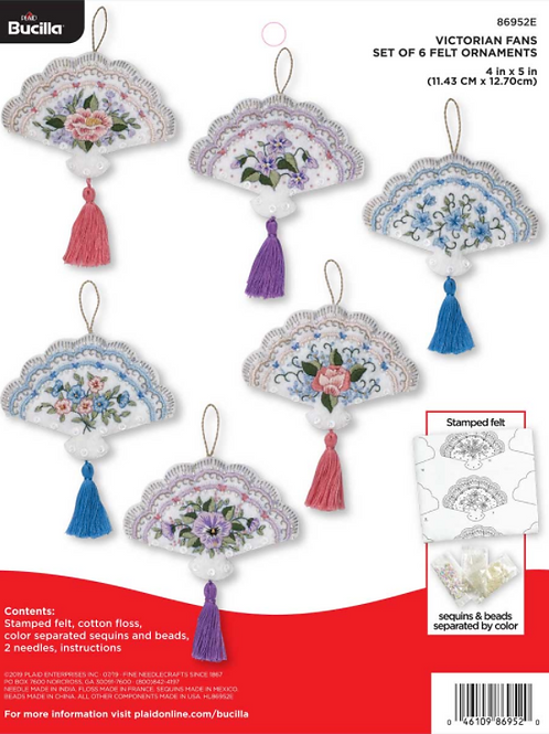 Bucilla Felt Kit - Victorian Fans - Ornaments