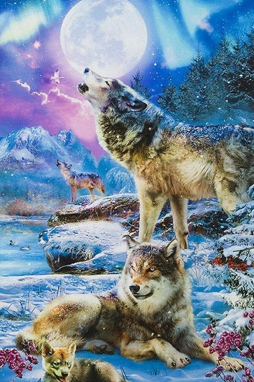 Wolf at Night Fabric Panel