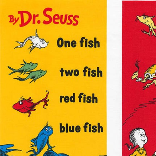 Dr Seuss ~ One Fish Two Fish Fabric panel