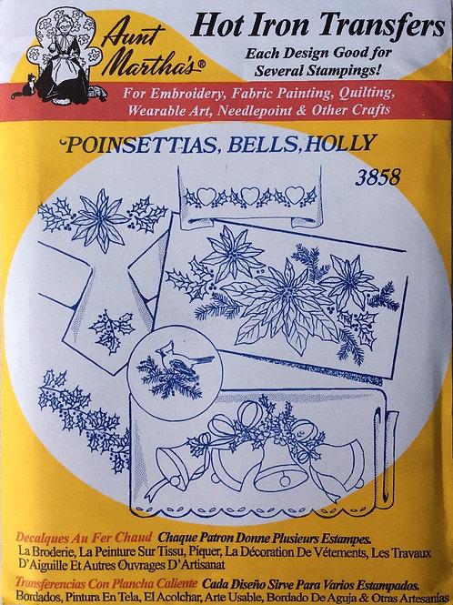 Ponsettias, Bells, Holly 3858 Hot Iron Transfers