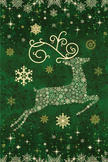 Reindeer Prancer Panel - Green