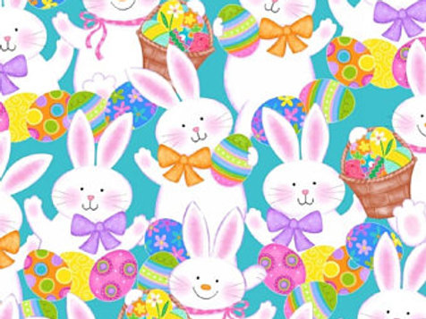 Easter Bunnies on Blue