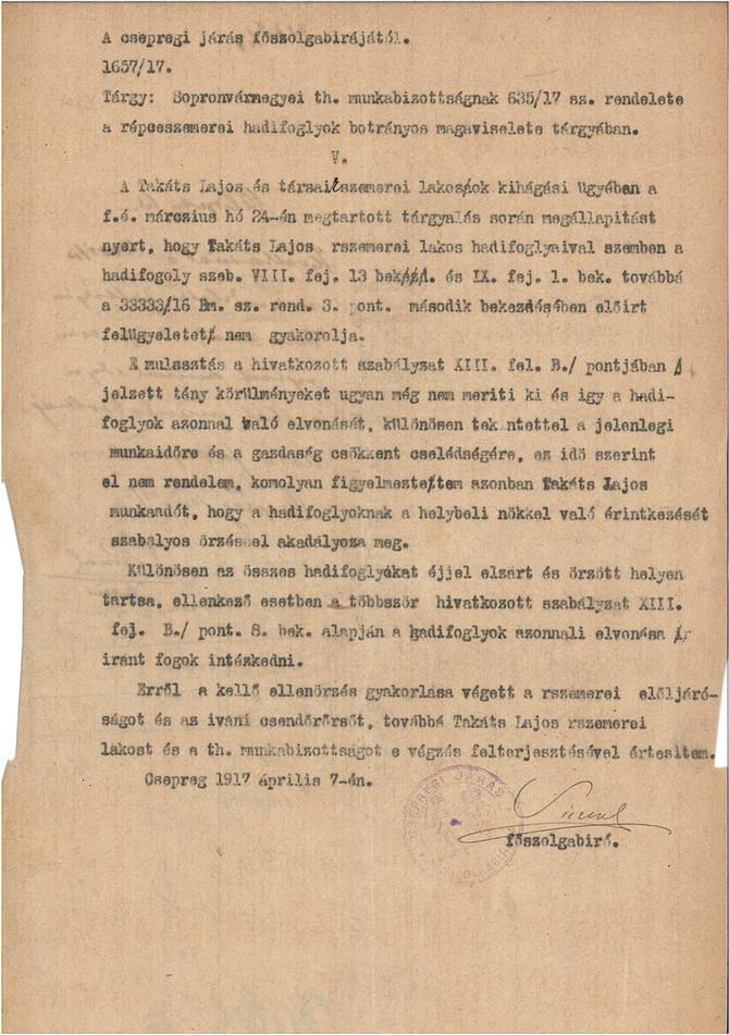 """""""Erkölcsi eltévelyedés"""" -  szeretkezés orosz hadifoglyokkal 1917 tavaszán"""
