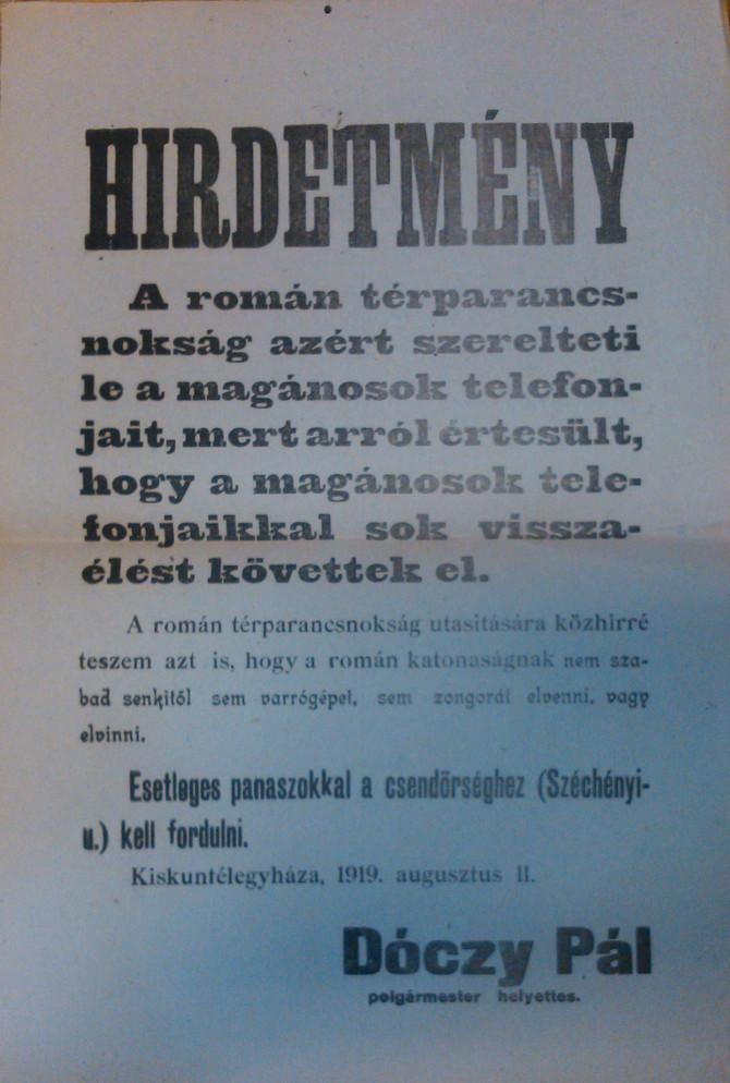 Perczel Olivér: Adalékok a Duna–Tisza köze román megszállásához (1919. augusztus–november). ArchívNE