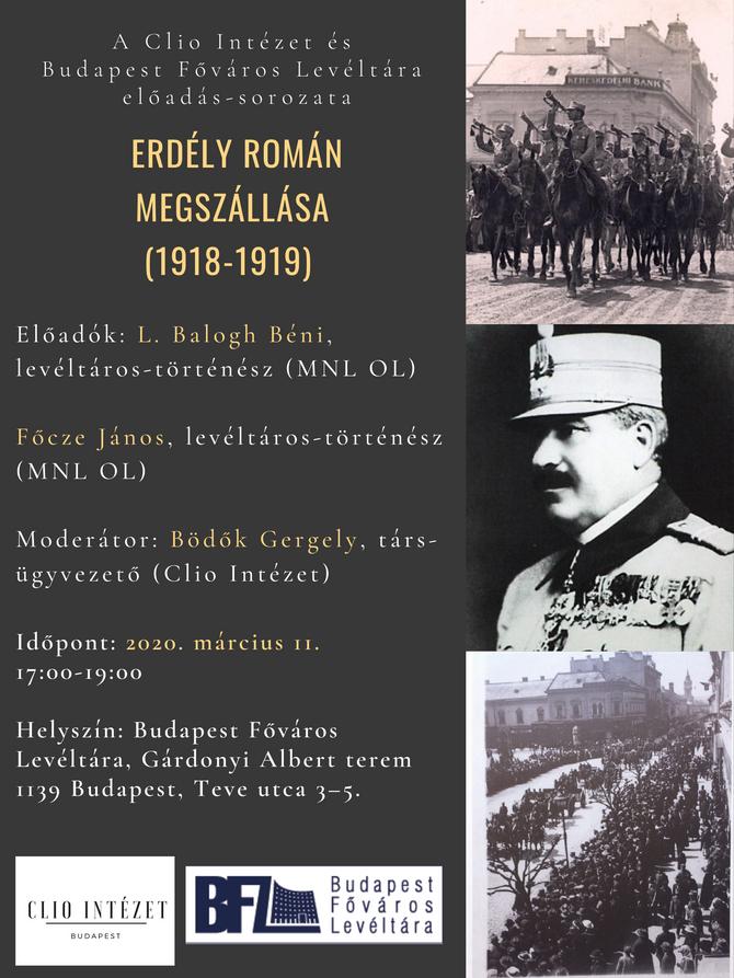 Erdély román megszállása (1918–1919). Rendezvény, 2020. március 11.