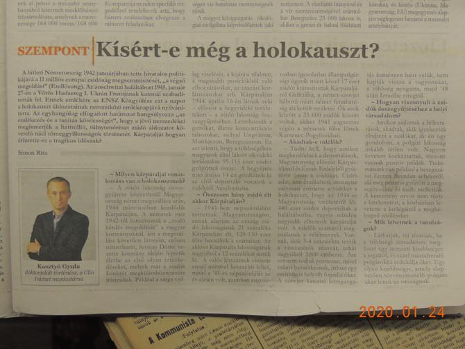 Interjú Kosztyó Gyulával a Holokauszt áldozatainak nemzetközi emléknapján