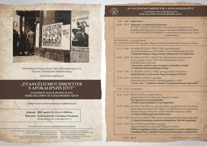 Előadás a Kommün Fejér megyében és Székesfehérváron konferencián, április 10.