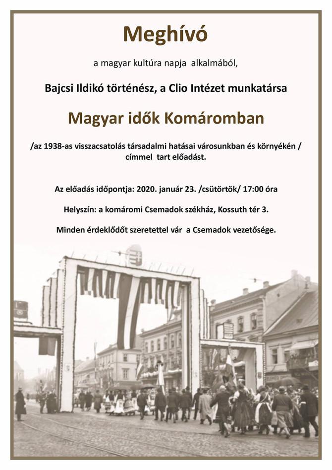 Bajcsi Ildikó: Magyar idők Komáromban. Az 1938-as visszacsatolás társadalmi hatásai. Komárom, január
