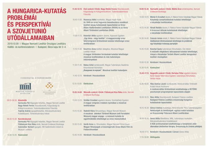 A Hungaricana-kutatás problémái és perspektívái a Szovjetunió utódállamaiban. Magyar Nemzeti Levéltá