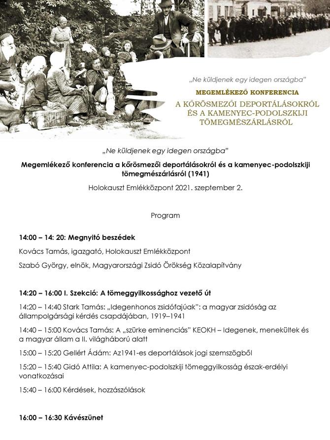 Konferencia az 1941-es deportálások 80. évfordulóján. HDKE, 2021. szeptember 2.