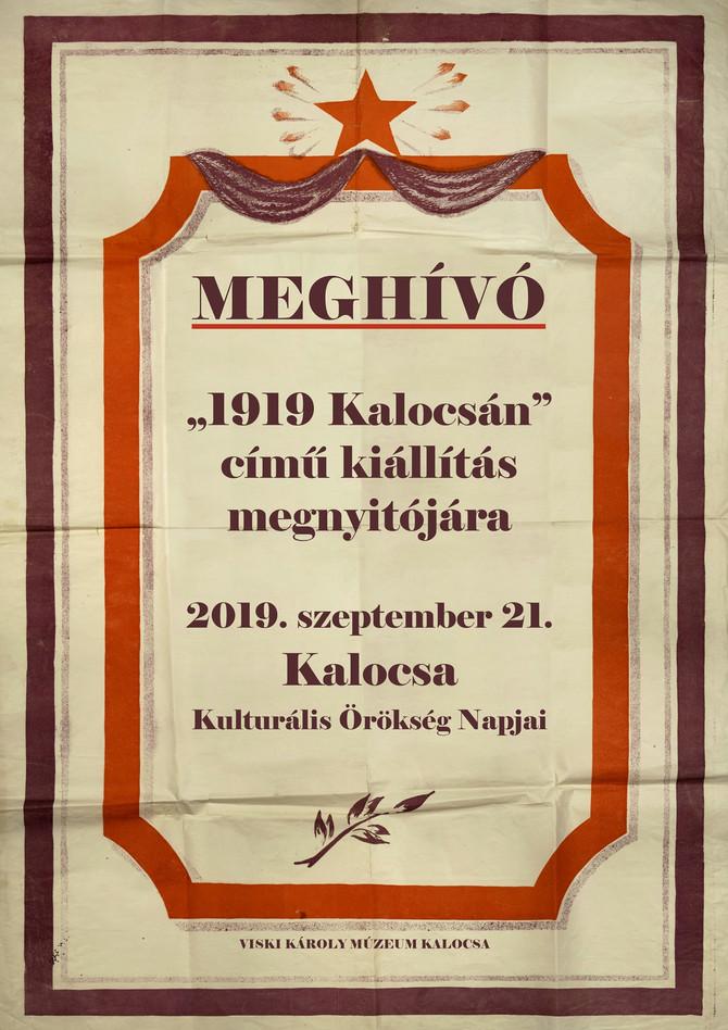 """""""1919 Kalocsán"""", kiállításmegnyitó, Visky Károly Múzeum, szeptember 21."""