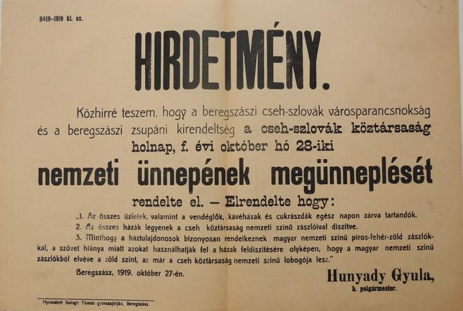 Zászlóhiány Beregszászban, avagy csehszlovák nemzeti ünnep nemzeti lobogó nélkül 1919-ben