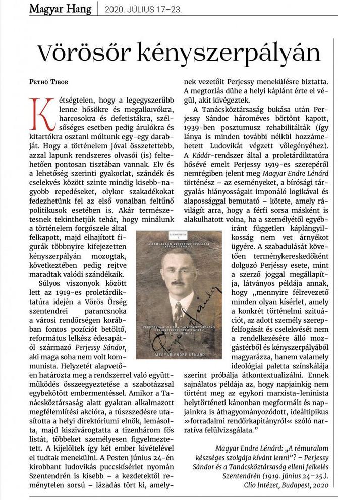 Pethő Tibor könyvismertetője Magyar Endre könyvéről. Magyar Hang, 2020. július 17.