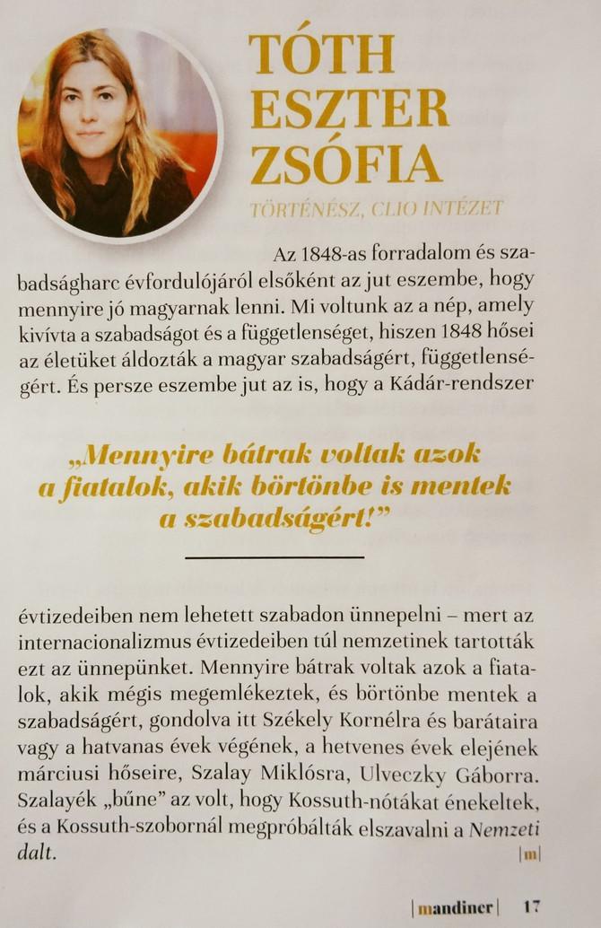 """Tóth Eszter Zsófia: """"Fiatalok, akik börtönbe is mentek a szabadságért"""". Mandiner, 2020. má"""