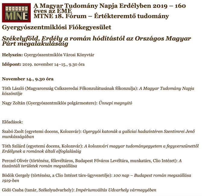 Bödők Gergely és Perczel Olivér előadásai Gyergyószentmiklóson november 14-én