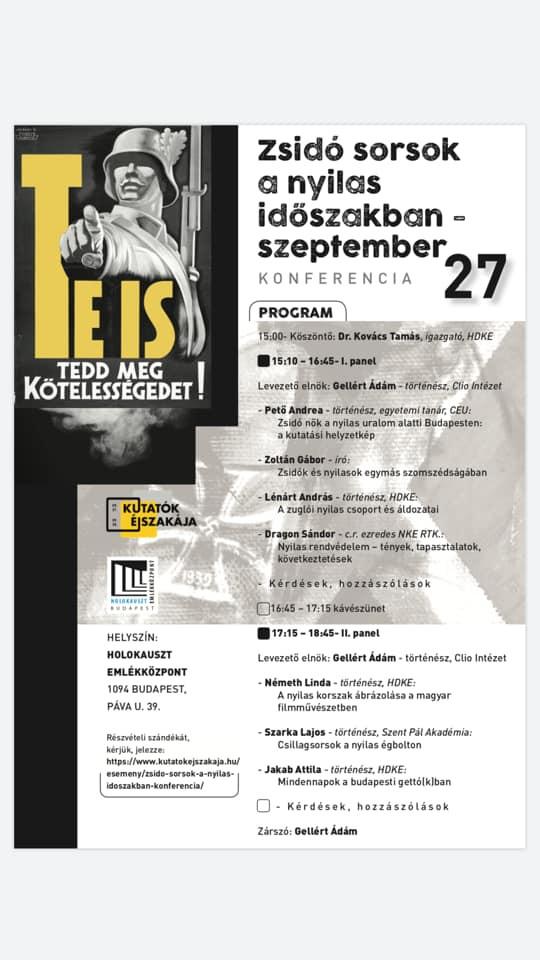 Zsidó sorsok a nyilas időszakban. Konferencia a Holokauszt Emlékközpontban, szeptember 27.