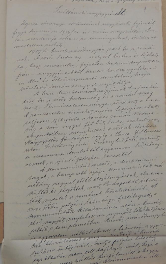 """""""Jobb tehát, ha eltakarodnak"""" – román megszállás Nagyszőlős és környékén (1919–1920)"""