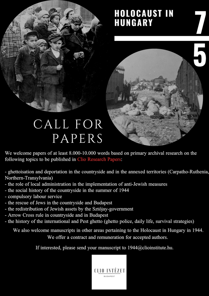 Call for papers, Holocaust in Hungary, 75