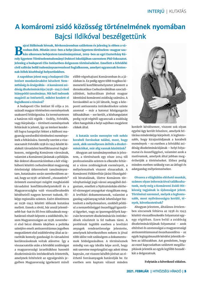 Bajcsi Ildikó: 2021-es kutatási tervek –Jaross Andor politikai pályája.