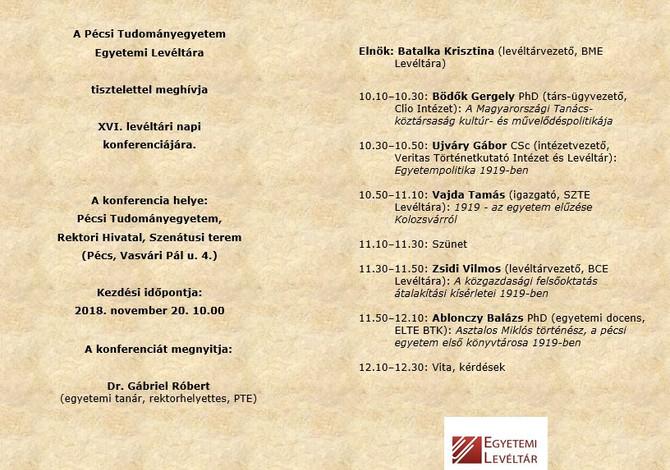 Bödők Gergely: A Tanácsköztársaság kultúr- és művelődéspolitikája. Pécs, november 20.