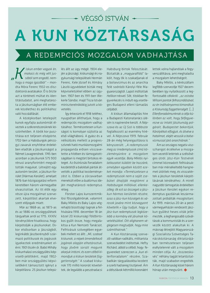 Végső István: A Kun Köztársaság – A redempciós mozgalom vadhajtása. Rubicon 2020/4. szám