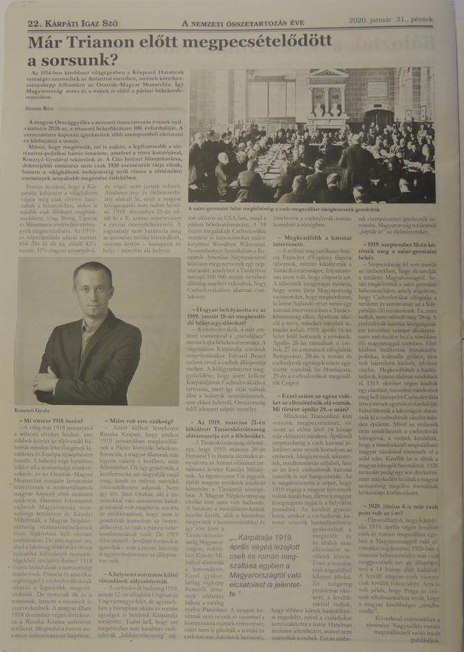 Kosztyó Gyula: Már Trianon előtt megpecsételődött a sorsunk?