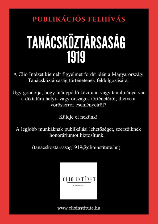 Publikációs felhívás, Tanácsköztársaság (1919-2019)