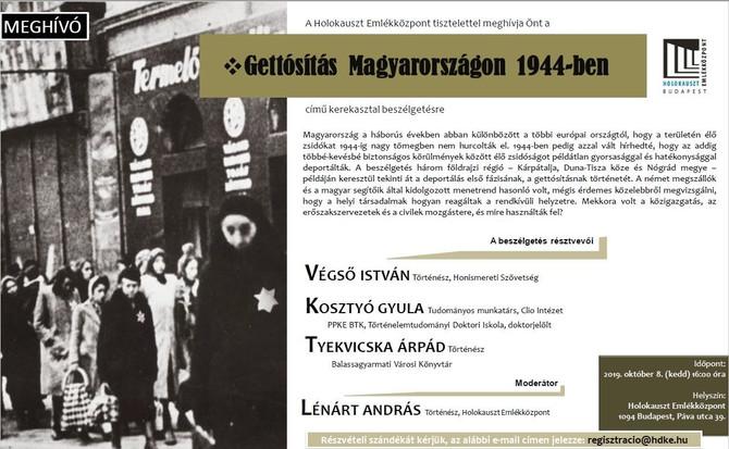 Gettósítás Magyarországon 1944-ben. Holokauszt Emlékközpont, október