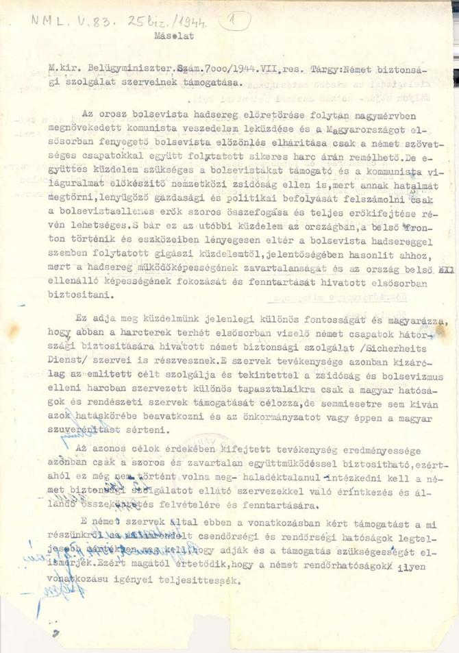 A beregszászi zsidó hitközség német megsarcolása 1944-ben
