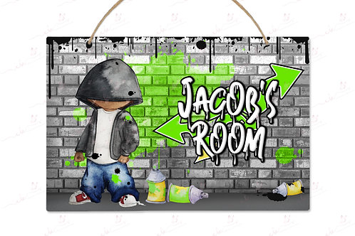 Personalised Bedroom Door Plaque - Graffiti