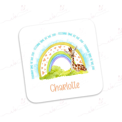 Personalised Coaster - Safari Feeding Time at the Zoo Design - Giraffe