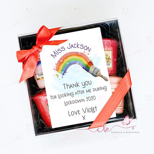 Personalised Yankee Candle Votive Set - Teacher - Rainbow Lockdown 2020
