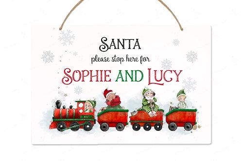 Personalised Bedroom Plaque - Santa Stop Here Train